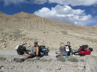 Taking a rest on top of the Kargush Pass - Photo courtesy of Hubert