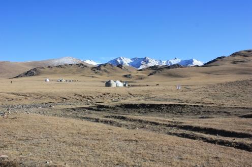 Yurts around the edge of Song Kul